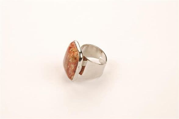 Patterned mookaite gemstone ring, silver metal mount. Adjustable size ring. . RS 10080